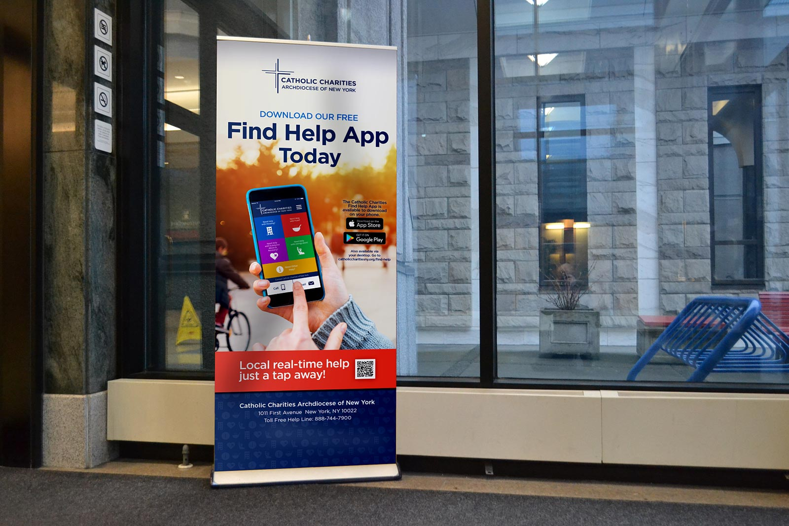 Catholic Charities Find Help App Campaign Bannerstand