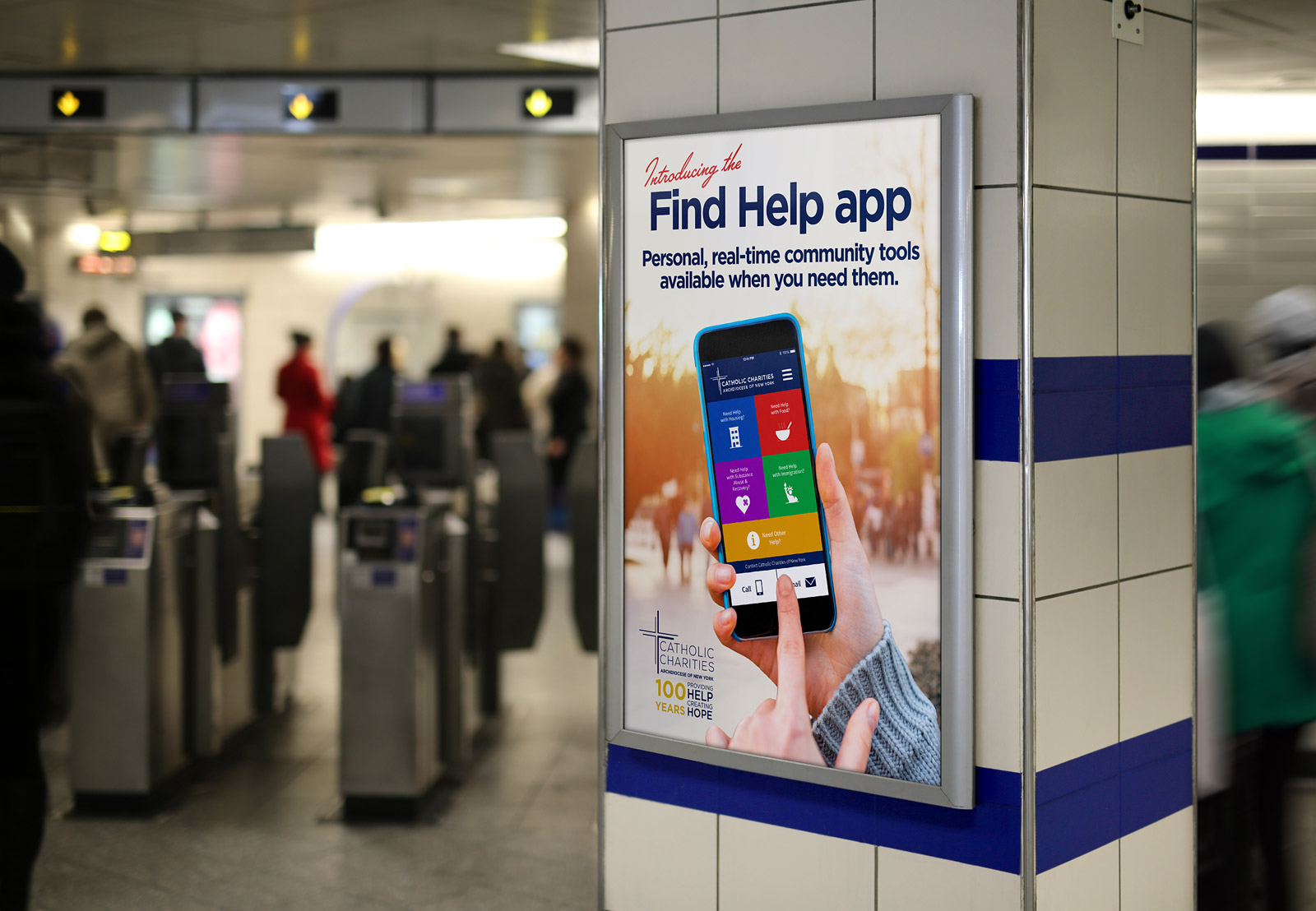 Catholic Charities Find Help Subway Poster